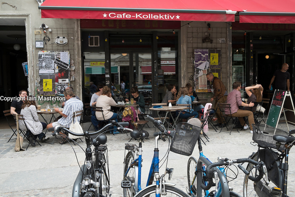 Busy cafe in bohemian Prenzlauer Berg district of Berlin Germany