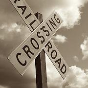 Rail road crossing sign at Roy, WA.