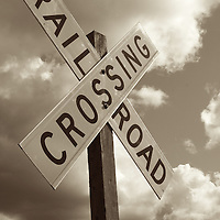 Rail road crossing sign at Roy, WA.