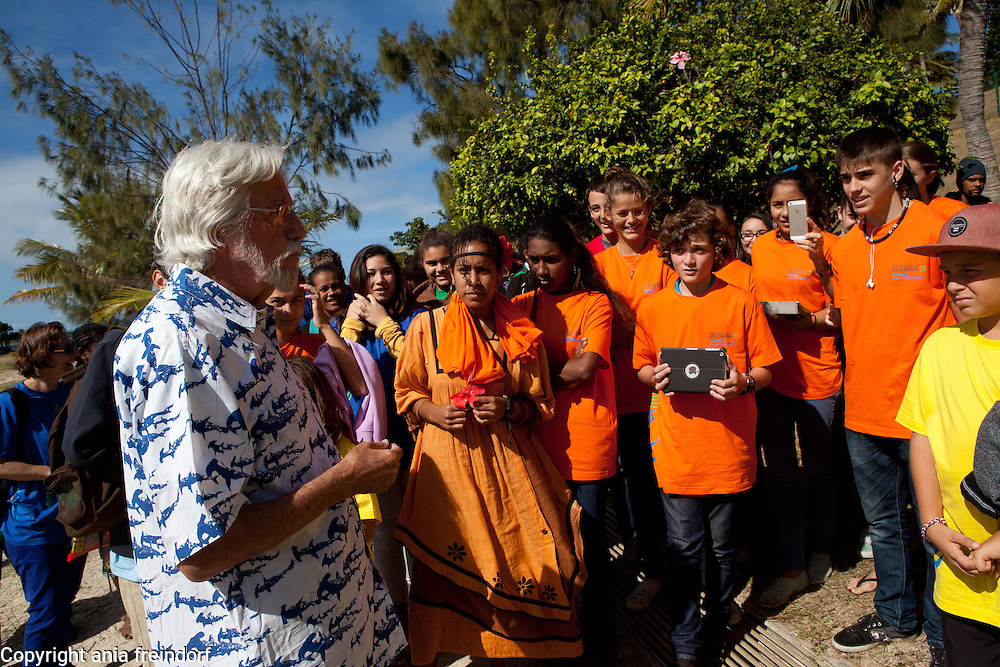 Jean Michel Cousteau,  is a French explorer, environmentalist, educator, and film producer. The first son of ocean explorer Jacques Cousteau. He met with children in Noumea, New Caledonia to encourage participation by young people and native/indigenous peoples of both genders to take greater ownership of and responsibility for environmental issues, climate change, envrionment, pacific, oceans, ocean, sea,