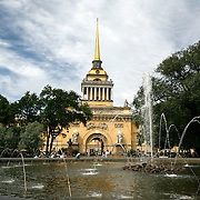The Admiralty was Russia's Naval Headquarters until 1917, and now serves as a naval college. The Alexander Garden in front of the Admiralty are particularly beautiful in summer.<br /> Photography by Jose More
