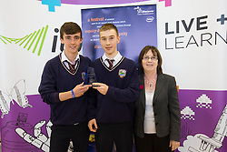 Winners of the Irish Science Teachers Association Award are Brian Foley and Daire Breen from Donabate Community College for their project 'Burgers – the fats and figures' are pictured with Sheila Porter, CEO Scifest at SciFest@ITB 2014. Post-primary school students from schools all over Dublin took  science to the next level with over 120 projects at SciFest@ITB 2014 in Institute of Technology Blanchardstown (ITB). The SciFest@ITB programme saw over 260 students from schools all over the region exhibit more than 120 projects at ITB and put their knowledge of science to the test! Picture Andres Poveda
