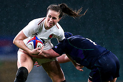 Emily Scarratt of England Women is tackled by Rachel McLachlan of Scotland Women - Mandatory by-line: Robbie Stephenson/JMP - 16/03/2019 - RUGBY - Twickenham Stadium - London, England - England Women v Scotland Women - Women's Six Nations