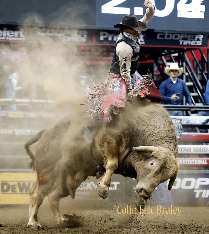 Mason Lowe rides Cochise during the Professional Bull Riders, Built Ford Tough Series at the Sprint Center, Saturday, Feb. 11, 2017, in Kansas City, Mo. (AP Photo/Colin E. Braley)