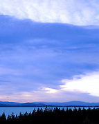 Lake Pukaki and a beautiful sky of clouds.  Near Mount Cook, southisland, new zealand.1999
