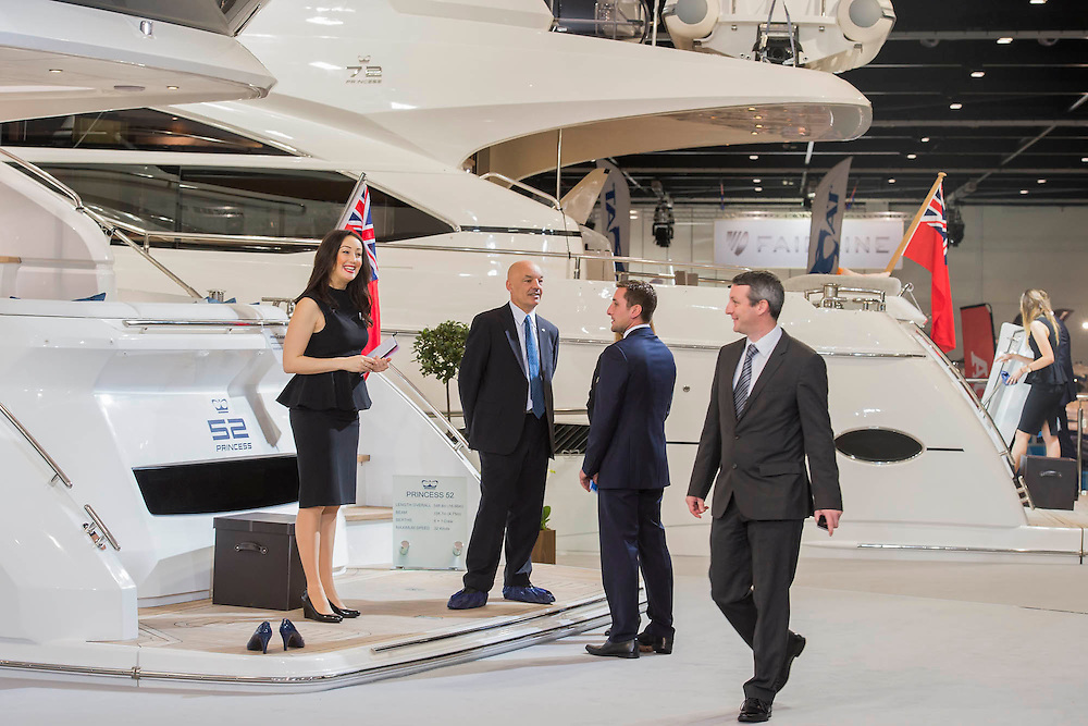 The Princess Yachts stand. The CWM FX London Boat Show, taking place 09-18 January 2015 at the ExCel Centre, Docklands, London. 09 Jan 2015.
