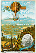 Guiton de Morveau (1737-1816) French chemist, making the first flight in a dirigible (steerable) balloon, 12 June 1784. Chromolithograph c1883.  Aeronautics Aviation Ballooning  Flying