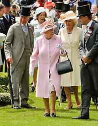 HM The QUEEN,  HRH The PRINCE OF WALES and HRH The DUCHESS OF CORNWALL at day two of the Royal Ascot 2016 Racing Festival at Ascot Racecourse, Berkshire on 15th June 2016.