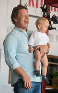 Jamie Oliver and son at the Big Feastival