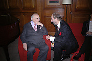 Lord Weidenfeld and Ed Victor. Olga Polizzi and Rocco Forte host a party to celebrate the re-opening of Brown's Hotel  after a  £19 million renovation. Albermarle St. London. 12 December 2005. ONE TIME USE ONLY - DO NOT ARCHIVE  © Copyright Photograph by Dafydd Jones 66 Stockwell Park Rd. London SW9 0DA Tel 020 7733 0108 www.dafjones.com