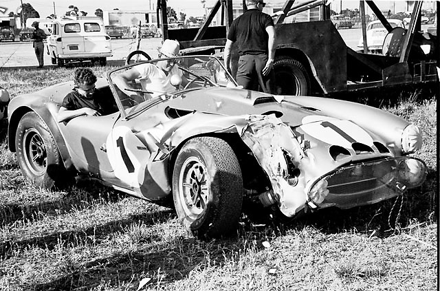 """Experimental first-generation Cobra with 427 engine, aka """"The Turd,"""" following Ken Miles' crash into a tree during practice for Sebring 12-hour race 1964"""