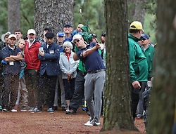 April 7, 2018 - Augusta, GA, USA - Zach Johnson hits from the woods on the 1st hole during the third round of the Masters Tournament on Saturday, April 7, 2018, at Augusta National Golf Club in Augusta, Ga. (Credit Image: © Jason Getz/TNS via ZUMA Wire)
