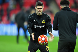 February 13, 2019 - London, England, United Kingdom - Borussia Dortmund midfielder Christian Pulisic warms up with Jadon Sancho during the UEFA Champions League match between Tottenham Hotspur and Ballspielverein Borussia 09 e.V. Dortmund at Wembley Stadium, London on Wednesday 13th February 2019. (Credit: Jon Bromley | MI News & Sport Ltd) (Credit Image: © Mi News/NurPhoto via ZUMA Press)