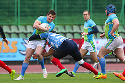Skofic during rugby match between National team of Slovenia (green-blue) and Luxemburg (blue-white) at EUROPEAN NATIONS CUP 2014-2016 of C group 2nd division, on April 18, 2015, at ZAK Stadium, Ljubljana, Slovenia. (Photo by Matic Klansek Velej / Sportida.com)