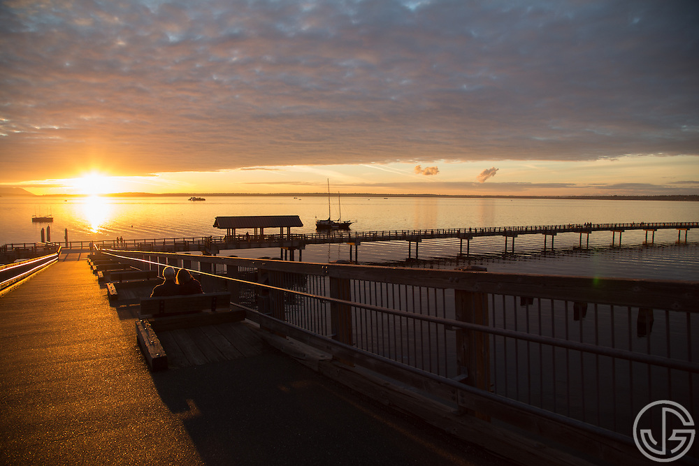 Sunset along the South Bay Trail, overlooking Bellingham Bay in Bellingham, Washington, September 19, 2014.