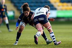 Sara Moreira of Worcester Warriors Women tackles Poppy Leitch of Bristol Bears Women - Mandatory by-line: Robbie Stephenson/JMP - 01/12/2019 - RUGBY - Sixways Stadium - Worcester, England - Worcester Warriors Women v Bristol Bears Women - Tyrrells Premier 15s