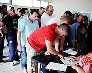 Unemployed neighbors from Moron de la Frontera  during a meeting, Moron de la Frontera, Andalucia, Spain.