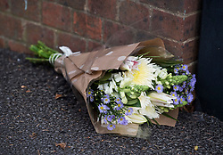 © Licensed to London News Pictures. 27/01/2018. London, UK. Flowers left at the scene where three teenage pedestrians were killed near a bus stop in Hayes, West London after a black Audi car is believed to have collided with them. Police were called to the incident, on Friday night at 20:41hrs, close to the M4 Junction 4 following reports of a serious road traffic collision. The victims died at the scene - are all believed to be teenage males, aged approximately 16. Photo credit: Ben Cawthra/LNP