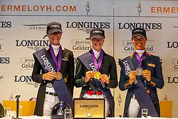 podium 7 year old horses, Fry Charlotte, Cornelissen Adelinde, Freese Isabel<br /> World ChampionshipsYoung Dressage Horses<br /> Ermelo 2018<br /> © Hippo Foto - Dirk Caremans<br /> 05/08/2018