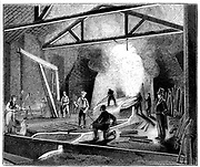 The foundry or cast house, Butterley Ironworks, Derbyshire. Tapping the furnace and casting iron into 'pigs'.  Manager in top hat and tail coat watches the procedure. Wood engraving 1844