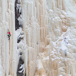 Nathalie Fortin Climbing Rio Del Lobo in Riviere de Loup, Quebec