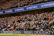 Nottingham Forest fans mark the fifth anniversary of the passing of former chairman Nigel Doughty during the EFL Sky Bet Championship match between Nottingham Forest and Aston Villa at the City Ground, Nottingham, England on 4 February 2017. Photo by Jon Hobley.