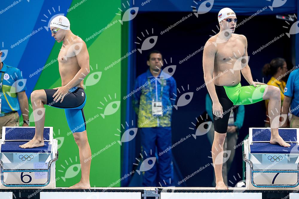 Stjepanovic Velimir SRB and Sukhorukov Alexander RUS<br /> 200 freestyle men<br /> Rio de Janeiro 06-08-2016 XXXI Olympic Games <br /> Olympic Aquatics Stadium <br /> Swimming heats 07/08/2016<br /> Photo Giorgio Scala/Deepbluemedia/Insidefoto