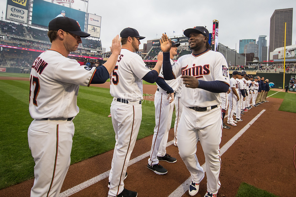 MINNEAPOLIS, MN- APRIL 3: Miguel Sano #22 of the Minnesota Twins is announced prior to the game against the Kansas City Royals on April 3, 2017 at Target Field in Minneapolis, Minnesota. The Twins defeated the Royals 7-1. (Photo by Brace Hemmelgarn) *** Local Caption *** Miguel Sano