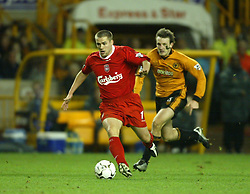 WOLVERHAMPTON, ENGLAND - Wednesday, January 21st, 2004: Liverpool's Michael Owen in action against Wolverhampton Wanderers during the Premiership match at Molineux. (Pic by David Rawcliffe/Propaganda)