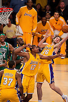 17 June 2010: Forward Pau Gasol of the Los Angeles Lakers grabs a rebound against the Boston Celtics during the first half of the Lakers 83-79 championship victory over the Celtics in Game 7 of the NBA Finals at the STAPLES Center in Los Angeles, CA.