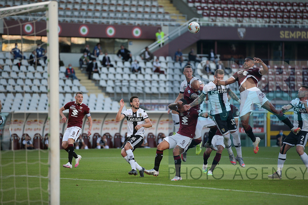 Torino FC's Brazilian defender Gleison Bremer climbs highest to head the ball on from a corner during the Serie A match at Stadio Grande Torino, Turin. Picture date: 20th June 2020. Picture credit should read: Jonathan Moscrop/Sportimage