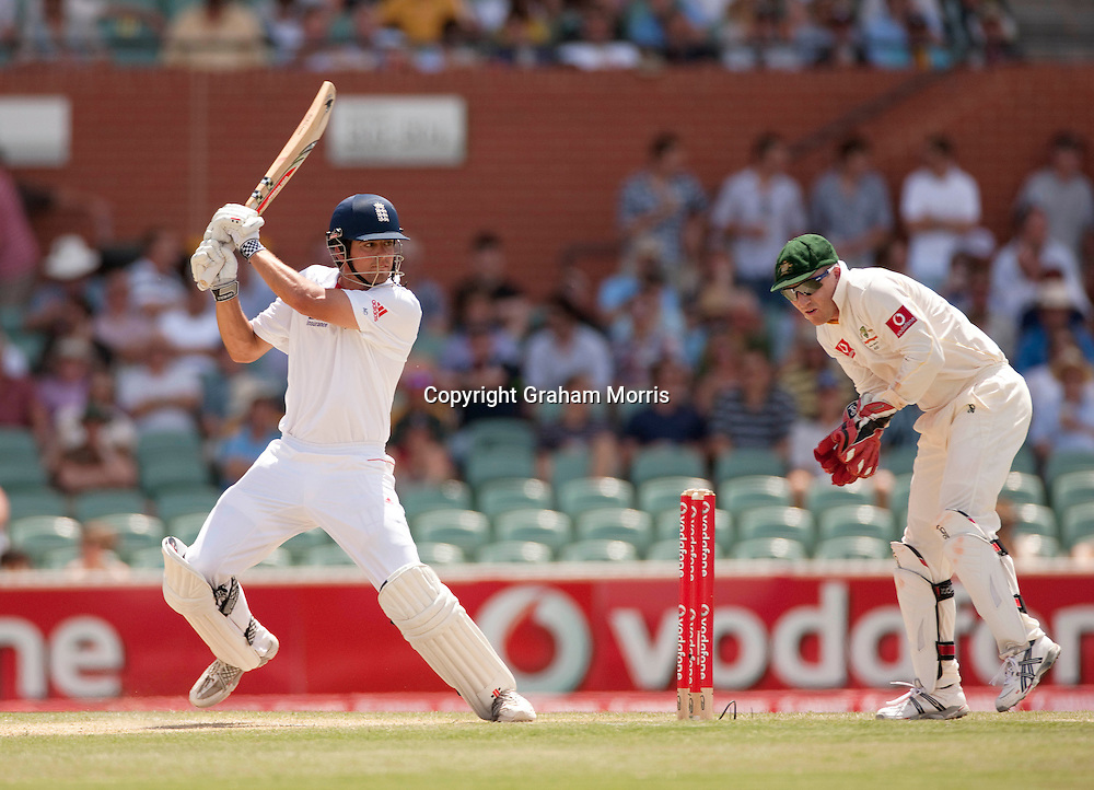 Alastair Cook heads towards his century with a four off Xavier Doherty in the second Ashes Test Match between Australia and England at the Adelaide Oval. Photo: Graham Morris (Tel: +44(0)20 8969 4192 Email: sales@cricketpix.com) 4/12/10