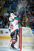 KELOWNA, CANADA -FEBRUARY 1: Jordon Cooke #30 of the Kelowna Rockets cools down between whistles against the Kamloops Blazers on February 1, 2014 at Prospera Place in Kelowna, British Columbia, Canada.   (Photo by Marissa Baecker/Getty Images)  *** Local Caption *** Jordon Cooke;