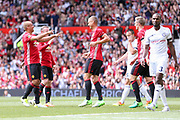 Manchester United 08 XI Nemanja Vidic celebrates his goal 1-1 with Manchester United 08 XI Wes Brown during the Michael Carrick Testimonial Match between Manchester United 2008 XI and Michael Carrick All-Star XI at Old Trafford, Manchester, England on 4 June 2017. Photo by Phil Duncan.