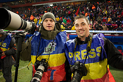 BUCHAREST, ROMANIA - Thursday, December 2, 2010: Action Images photographer Andrew Couldridge and Liverpool Echo photographer Jason Roberts before the FC Steaua Bucuresti versus Liverpool the UEFA Europa League Group K match at the Stadionul Steaua. (Pic by: David Rawcliffe/Propaganda)