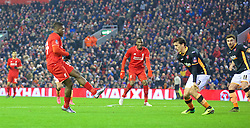LIVERPOOL, ENGLAND - Wednesday, January 20, 2016: Liverpool's Sheyi Ojo scores the second goal against Exeter City during the FA Cup 3rd Round Replay match at Anfield. (Pic by David Rawcliffe/Propaganda)