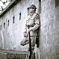 Military history re-enactors encampment at Fort Rodd Hill, Victoria.