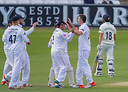 Ryan McLaren (Hampshire CCC) celebrates with team mates after taking the wicket of Michael Richardson (Durham County Cricket Club) during the LV County Championship Div 1 match between Durham County Cricket Club and Hampshire County Cricket Club at the Emirates Durham ICG Ground, Chester-le-Street, United Kingdom on 1 September 2015. Photo by George Ledger.