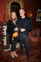 Jamie Richards, Lavinia Richards at a party to launch the Barr & Bass 'Aya' brand at Mark's Club, 46 Charles Street, Mayfair, London England. 14 December 2016.