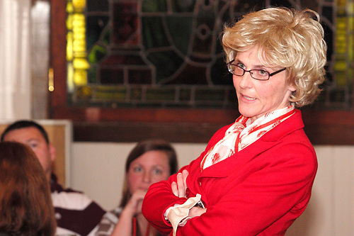 """Susan Robert as Barb Waters (right) during Mayhem & Mystery's production of """"Newsworthy Nemesis"""" at the Spaghetti Warehouse in downtown Dayton, Friday, March 9, 2012."""