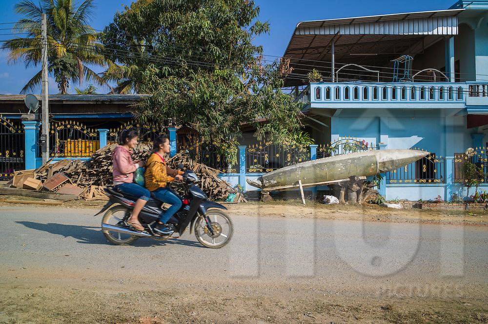 Old kerosene tank from an American aircraft in Muang Kham, Xieng Khouang Province,  Laos, Southeast Asia