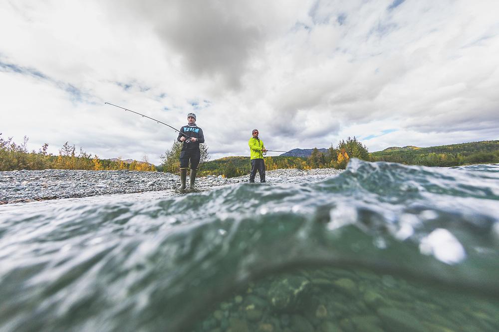 Tyler McCaul and Darren Berrecloth fish the Tatshenshini River in the Tatshenshini-Alsek Provincial Park in British Columbia, Canada on September 1, 2016.