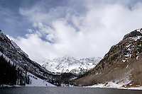 Clouds over Maroon Bells in Winter, Maroon - Snowmass Wilderness, Colorado