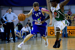 Jure Mocnik of Helios and Brian Greene of Olimpija at third finals basketball match of Slovenian Men UPC League between KK Union Olimpija and KK Helios Domzale, on June 2, 2009, in Arena Tivoli, Ljubljana, Slovenia. Union Olimpija won 69:58 and became Slovenian National Champion for the season 2008/2009. (Photo by Vid Ponikvar / Sportida)