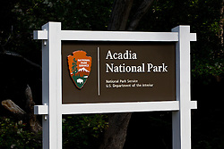 National Park Service sign for Acadia National Park, Maine, United States of America