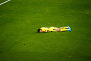 Neymar of Paris Saint Germain lays on the ground during the UEFA Champions League, Group B football match between RSC Anderlecht and Paris Saint-Germain on October 18, 2017 at Constant Vanden Stock Stadium in Brussels, Belgium - Photo Geoffroy Van Der Hasselt / ProSportsImages / DPPI