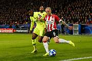 Barcelona player Nelson Semedo (l) and PSV player Angelino (r) during the UEFA Champions League, Group B football match between PSV Eindhoven and FC Barcelona on November 28, 2018 at Philips Stadium in Eindhoven, Netherlands - Photo Thomas Bakker / Pro Shots / ProSportsImages / DPPI