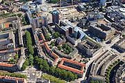 Nederland, Zuid-Holland, Rotterdam, 15-07-2012; Oostelijke binnenstad, als eerste herbouwd na het bombardement. Meenthof en Pannekoekstraat (met rode daken, midden), Mariniersweg (met bomen, midden), naar links Goudsesingel, rechts Binenrotte (met markt), rechtsonder Meent..Rotterdam center, first built directly after the bombing of 1940 and later constructed high rise buildings..luchtfoto (toeslag), aerial photo (additional fee required).foto/photo Siebe Swart