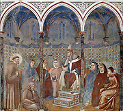 Giotto di Bondone  fresco cycle for the life of St. Francis of Assisi Francis before Pope Honorius III, 1296-98