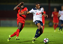 STEVENAGE, ENGLAND - Monday, September 19, 2016: Liverpool's Toni Gomes in action against Tottenham Hotspur's Timothy Eyoma during the FA Premier League 2 Under-23 match at Broadhall. (Pic by David Rawcliffe/Propaganda)